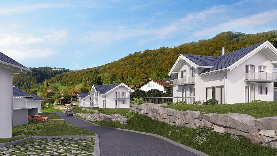5 Häuser sind bereits erstellt und bewohnt